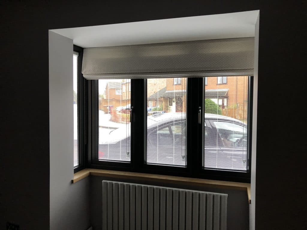 Bay window with blind